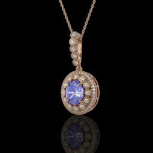 4.77 ctw Tanzanite & Diamond Victorian Necklace 14K