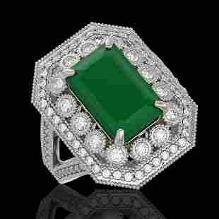 7.11 ctw Certified Emerald & Diamond Victorian Ring 14K