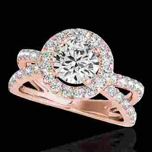 2.01 ctw Certified Diamond Solitaire Halo Ring 10k Rose