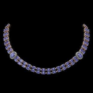 36.19 ctw Tanzanite & Diamond Necklace 14K Rose Gold -