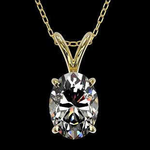 1 ctw Certified VS/SI Quality Oval Diamond Necklace 10k
