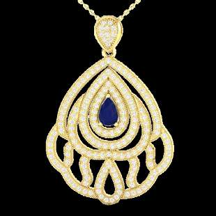 2 ctw Sapphire & Micro Pave VS/SI Diamond Necklace 18k