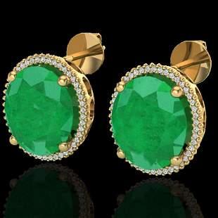 25 ctw Emerald & Micro Pave VS/SI Diamond Earrings 18k