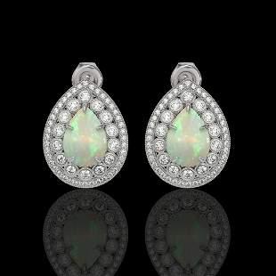 7.88 ctw Certified Opal & Diamond Victorian Earrings