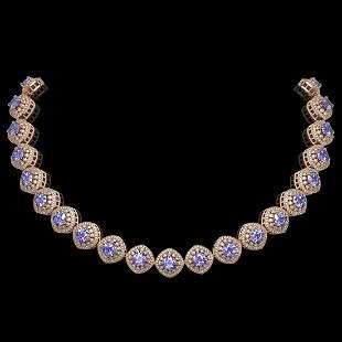 83.82 ctw Tanzanite & Diamond Victorian Necklace 14K
