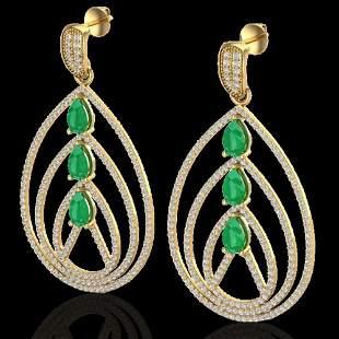 4 ctw Emerald & Micro Pave VS/SI Diamond Earrings 18k