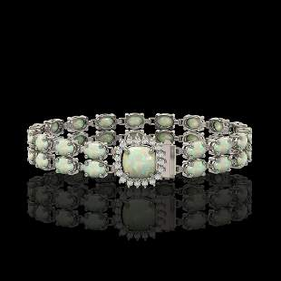 14.41 ctw Opal & Diamond Bracelet 14K White Gold -