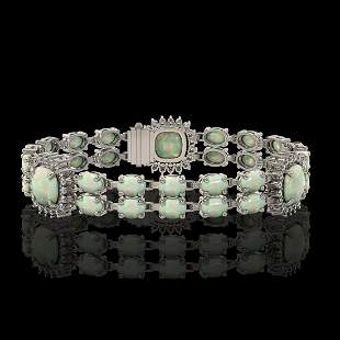 16.55 ctw Opal & Diamond Bracelet 14K White Gold -