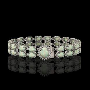13.69 ctw Opal & Diamond Bracelet 14K White Gold -