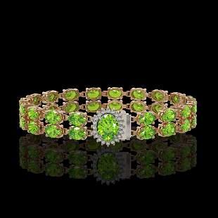 26.52 ctw Peridot & Diamond Bracelet 14K Rose Gold -