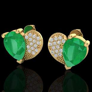2.50 ctw Emerald & Micro Pave VS/SI Diamond Earrings