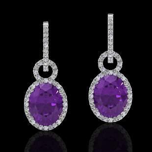 6 ctw Amethyst & Micro Pave Halo VS/SI Diamond Earrings