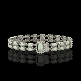 13.48 ctw Opal & Diamond Bracelet 14K White Gold -