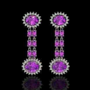 8.19 ctw Amethyst & Diamond Earrings 14K White Gold -