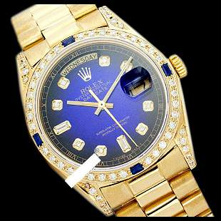 Rolex Men's 18K Yellow President, QuickSet, Diam Dial &