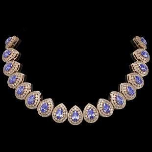 108.42 ctw Tanzanite & Diamond Victorian Necklace 14K