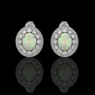 7.4 ctw Certified Opal & Diamond Victorian Earrings 14K