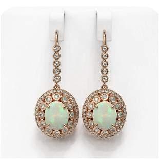 10.26 ctw Certified Opal & Diamond Victorian Earrings