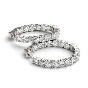 10 ctw Diamond VS/SI Certified 30 MM HOOP Earrings 14K