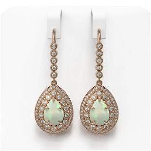 8.29 ctw Certified Opal & Diamond Victorian Earrings