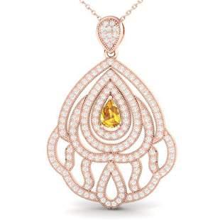 2 ctw Yellow Sapphire & Micro VS/SI Diamond Necklace