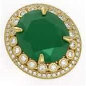 29.04 ctw Certified Emerald & Diamond Victorian Ring