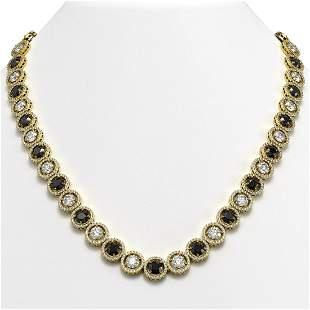 35.55 ctw Black & Diamond Micro Pave Necklace 18K