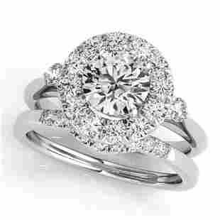 1.62 ctw Certified VS/SI Diamond 2pc Wedding Set Halo