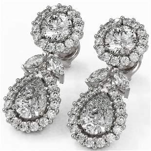 4.41 ctw Pear & Marquise Cut Diamond Earrings 18K White