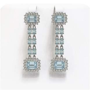 10.82 ctw Aquamarine & Diamond Earrings 14K White Gold