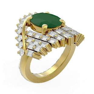 10.48 ctw Emerald & Diamond Ring 18K Yellow Gold -