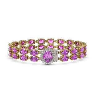 24.82 ctw Amethyst & Diamond Bracelet 14K Yellow Gold -
