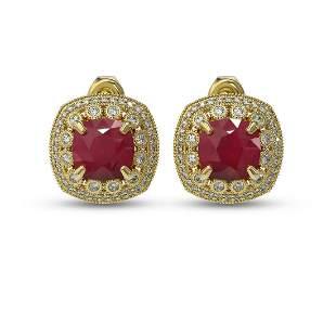 12.49 ctw Certified Ruby & Diamond Victorian Earrings