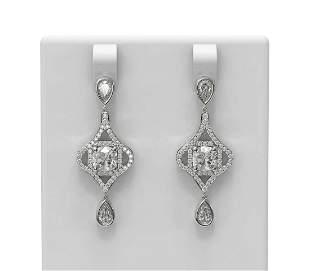 3.84 ctw Cushion Diamond Earrings 18K White Gold -