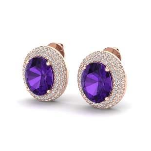 8 ctw Amethyst & Micro Pave VS/SI Diamond Earrings 14k