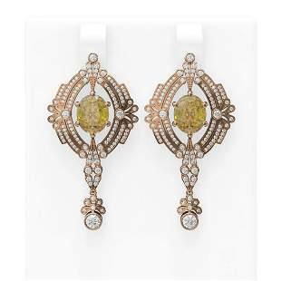 10.44 ctw Canary Citrine & Diamond Earrings 18K Rose