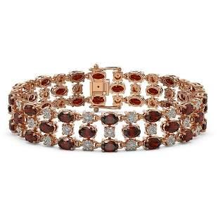 13.12 ctw Garnet & Diamond Row Bracelet 10K Rose Gold -