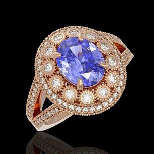 4.76 ctw Certified Tanzanite & Diamond Victorian Ring