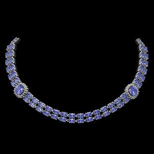 37.96 ctw Tanzanite & Diamond Necklace 14K White Gold -