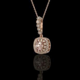 2.15 ctw Morganite & Diamond Victorian Necklace 14K
