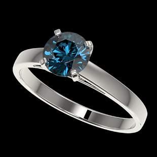 1.05 ctw Certified Intense Blue Diamond Engagment Ring