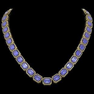 79.99 ctw Tanzanite & Diamond Micro Pave Halo Necklace