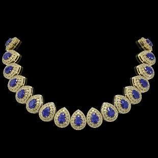 121.42 ctw Sapphire & Diamond Victorian Necklace 14K