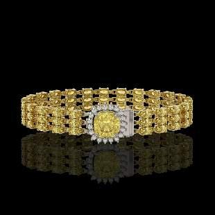 25.15 ctw Citrine & Diamond Bracelet 14K Yellow Gold -