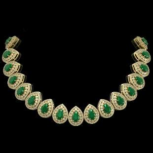 121.42 ctw Emerald & Diamond Victorian Necklace 14K