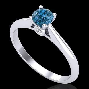 0.40 ctw Intense Blue Diamond Engagment Art Deco Ring
