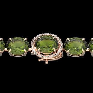 65 ctw Green Tourmaline & Micro Diamond Bracelet 14k