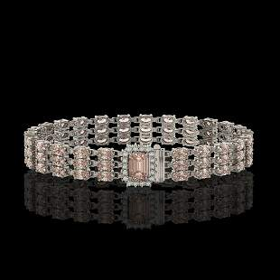 24.91 ctw Morganite & Diamond Bracelet 14K White Gold -