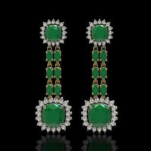 19.88 ctw Emerald & Diamond Earrings 14K Yellow Gold -