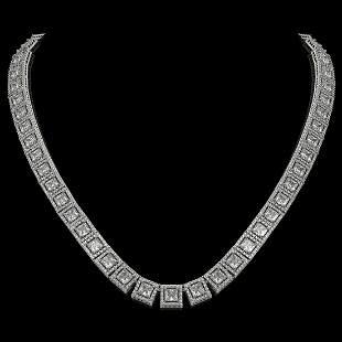 36.30 ctw Princess Cut Diamond Micro Pave Necklace 18K